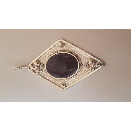 Large Sterling Silver pendant with natural Amethyst stone Love Tease, Bijuterii de argint lucrate manual, handmade