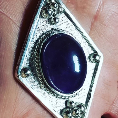 Large Sterling Silver pendant with natural Amethyst stone Love Tease, Bijuterii de argint lucrate manual, handmade
