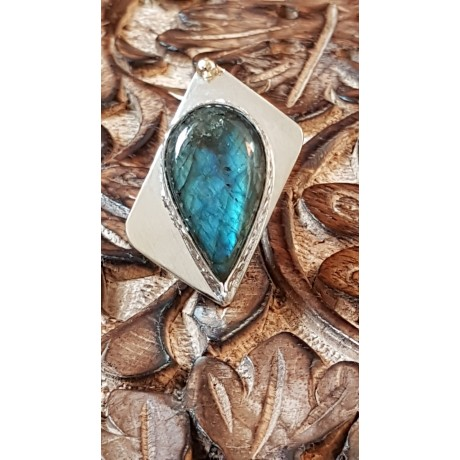 Sterling silver ring with natural labradorite stone Love Addict, Bijuterii de argint lucrate manual, handmade