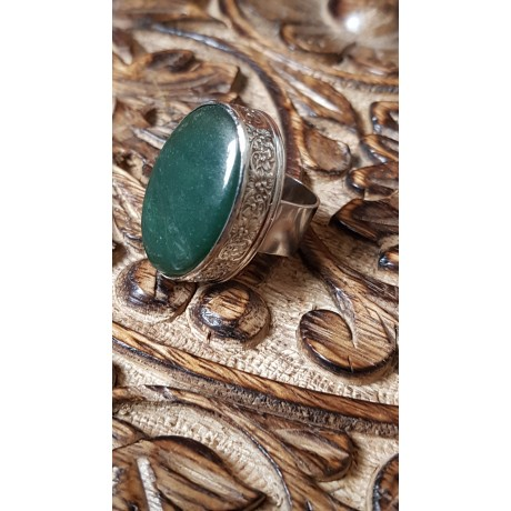 Sterling silver ring with natural green jade stone,  Bound to Green, Bijuterii de argint lucrate manual, handmade