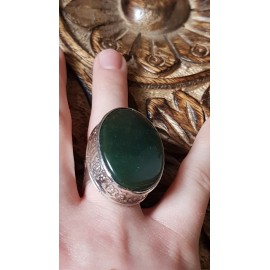 Sterling silver ring with natural green jade stone,  Bound to Green