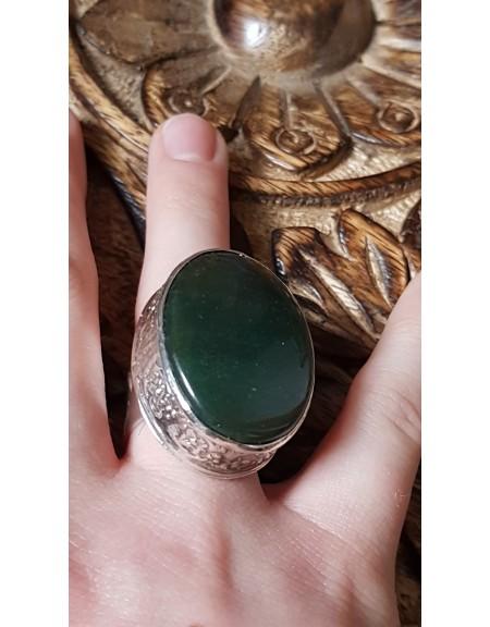 Ineldin Ag masiv Ag925 cu jad verde natural Bound to Green, Bijuterii de argint lucrate manual, handmade