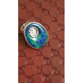 Sterling silver ring with natural azurite and malachite stone
