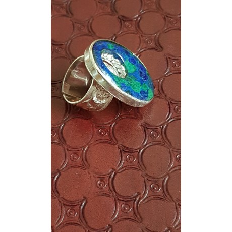 Sterling silver ring with natural azurite and malachite stone, Bijuterii de argint lucrate manual, handmade