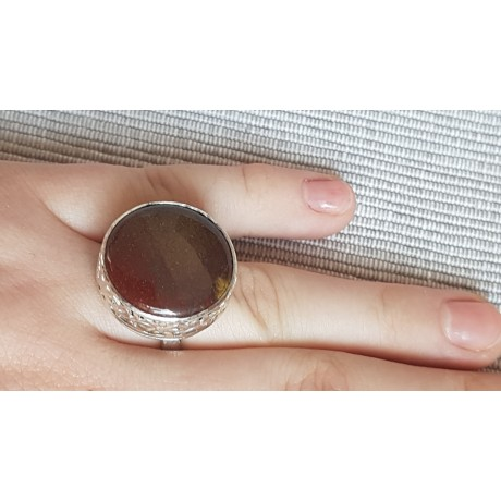 Sterling silver ring with natural jasper stone Round up to Ginger, Bijuterii de argint lucrate manual, handmade