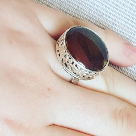 Sterling silver ring with natural jasper stone Round up to Ginger