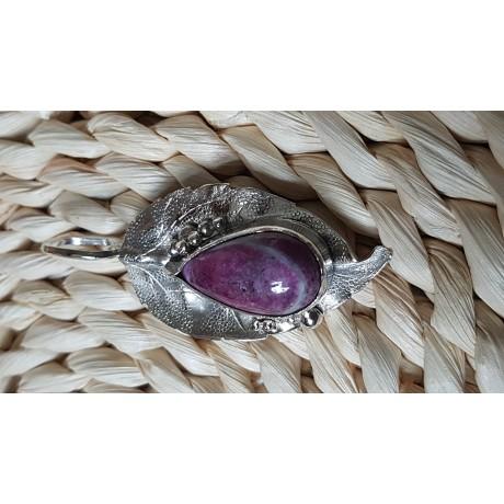 Sterling silver pendant with natural ruby Purple Dressing , Bijuterii de argint lucrate manual, handmade
