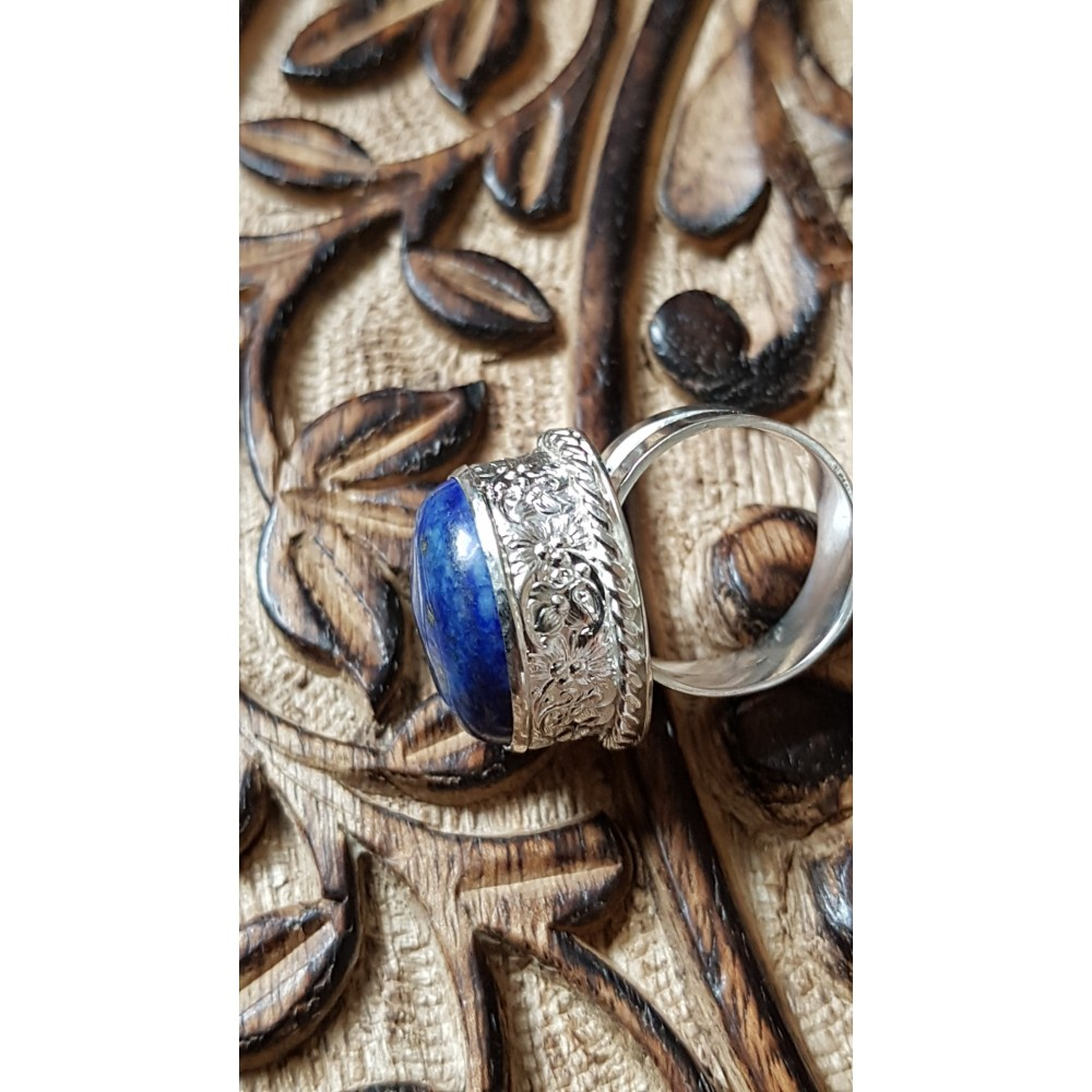 Sterling silver ring with natural lapislazuli Blue Pitch