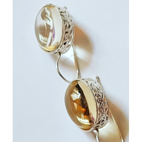 Sterling silver earrings with natural  citrine stones Translucence Cores , Bijuterii de argint lucrate manual, handmade