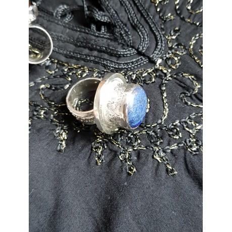 Large Sterling silver ring with natural lapislazuli Blue Groove, Bijuterii de argint lucrate manual, handmade