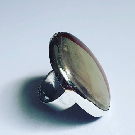 Large Sterling Silver ring with natural jasper stone Outrage, Bijuterii de argint lucrate manual, handmade