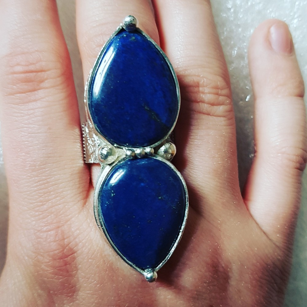 Sterling silver ring with natural lapislazuli Sibling Blues