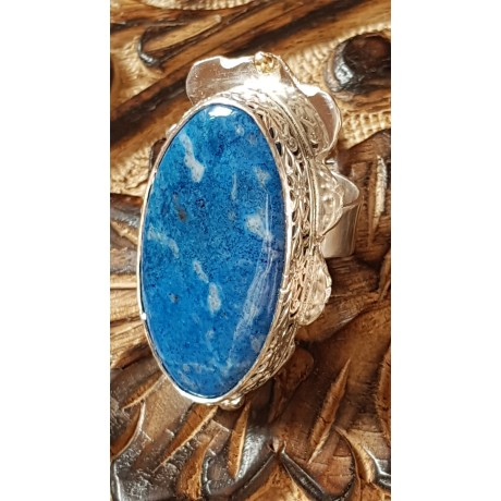 Large Sterling Silver ring with natural lazulite Choicest Blues, Bijuterii de argint lucrate manual, handmade