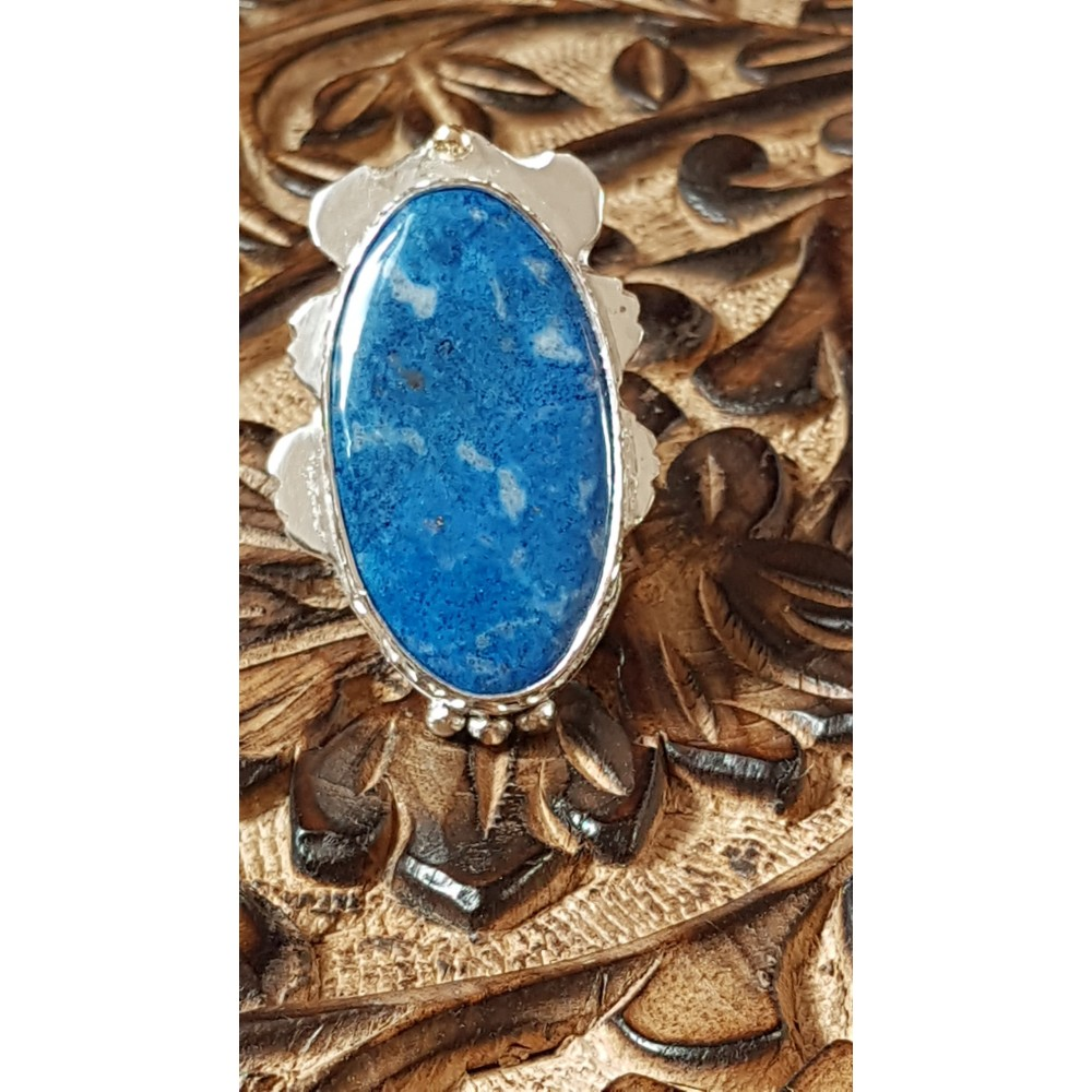 Large Sterling Silver ring with natural lazulite Choicest Blues