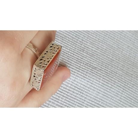 Sterling silver ring with natural jasper stone Ginger Picaro, Bijuterii de argint lucrate manual, handmade