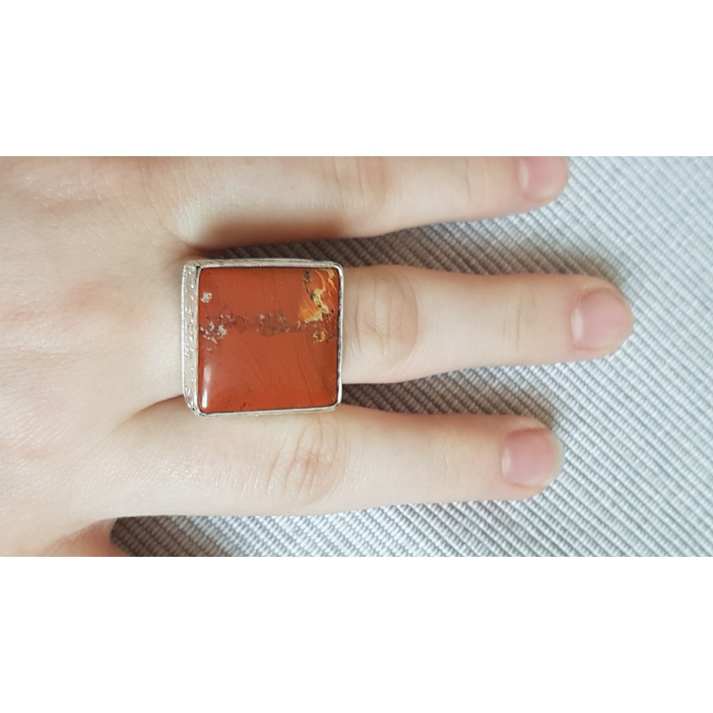 Sterling silver ring with natural jasper stone Ginger Picaro