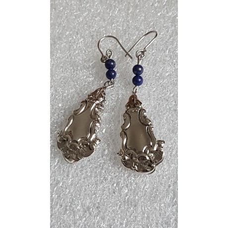 Sterling silver earrings with natural lapislazuli stones Shifting Mirrors, Bijuterii de argint lucrate manual, handmade