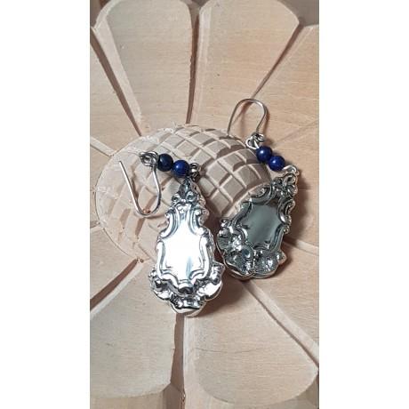 Sterling silver earrings with natural lapislazuli stones Shifting Mirrors, Bijuterii de argint lucrate manual, handmade