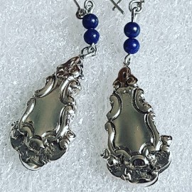 Sterling silver earrings with natural lapislazuli stones Shifting Mirrors