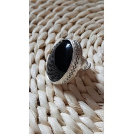 Large Sterling Silver ring with natural onyx stone Black Courtesey