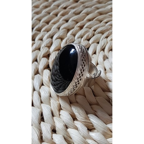 Large Sterling Silver ring with natural onyx stone Black Courtesey, Bijuterii de argint lucrate manual, handmade