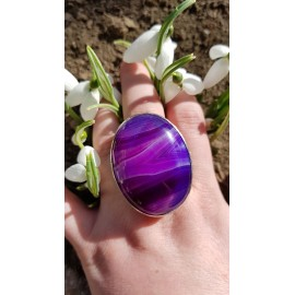 Large Sterling Silver ring with natural Purple agate Scent of Mauve