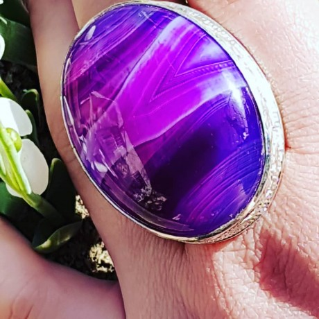Large Sterling Silver ring with natural Purple agate Scent of Mauve, Bijuterii de argint lucrate manual, handmade