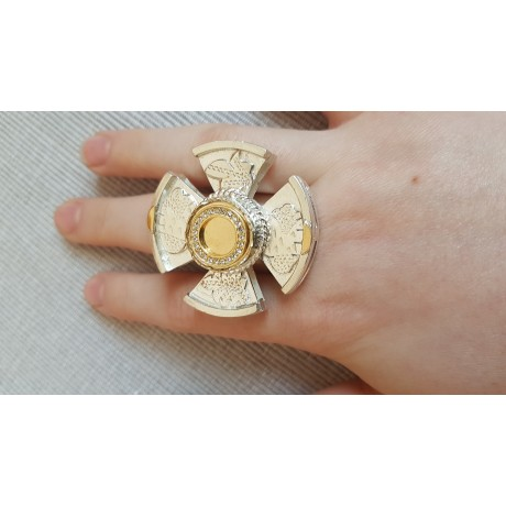 Large Sterling Silver ring and 14k Gold Love Compass, Bijuterii de argint lucrate manual, handmade