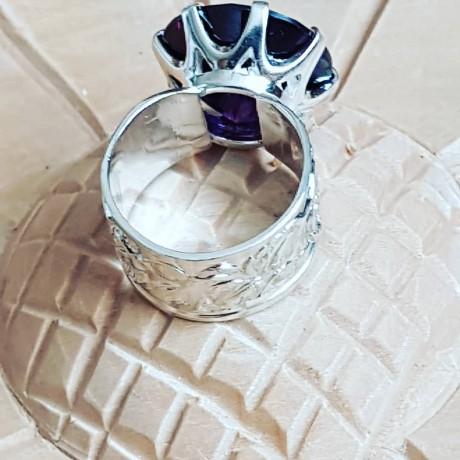 Sterling silver ring with Asia amethyst Mauve Tales, Bijuterii de argint lucrate manual, handmade