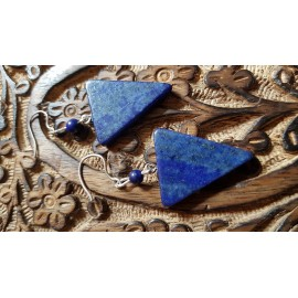 Sterling silver earrings with natural  lapislazuli stones Blue Arrow