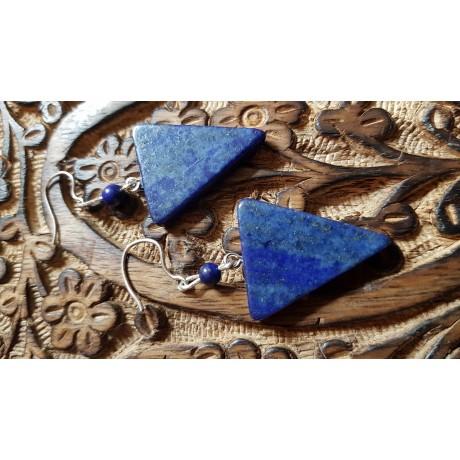 Sterling silver earrings with natural  lapislazuli stones Blue Arrow, Bijuterii de argint lucrate manual, handmade