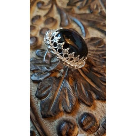Large Sterling Silver ring with natural smoky quartz Love Sorceress, Bijuterii de argint lucrate manual, handmade