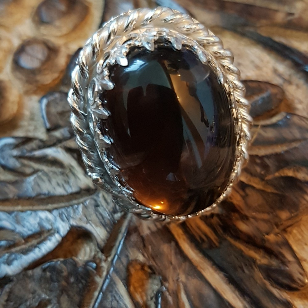 Large Sterling Silver ring with natural smoky quartz Love Sorceress