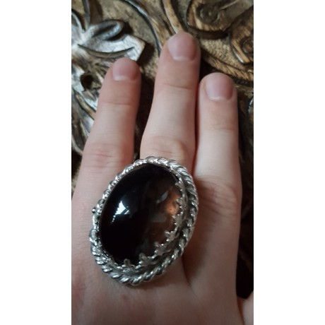Large Sterling Silver ring with natural smoky quartz Love Sorceress, Bijuterii de argint lucrate manual, handmade