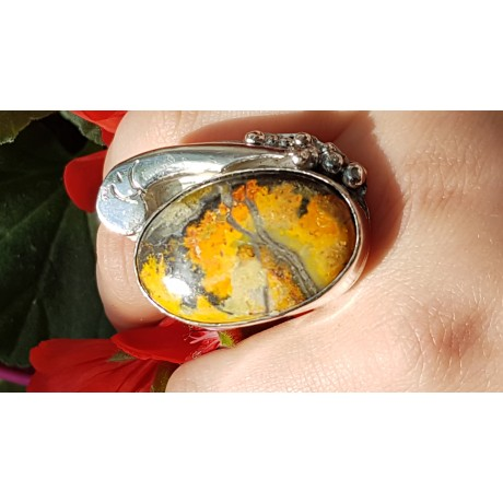 Massive Sterling silver ring with natural jasper stone Bee Cradle, Bijuterii de argint lucrate manual, handmade