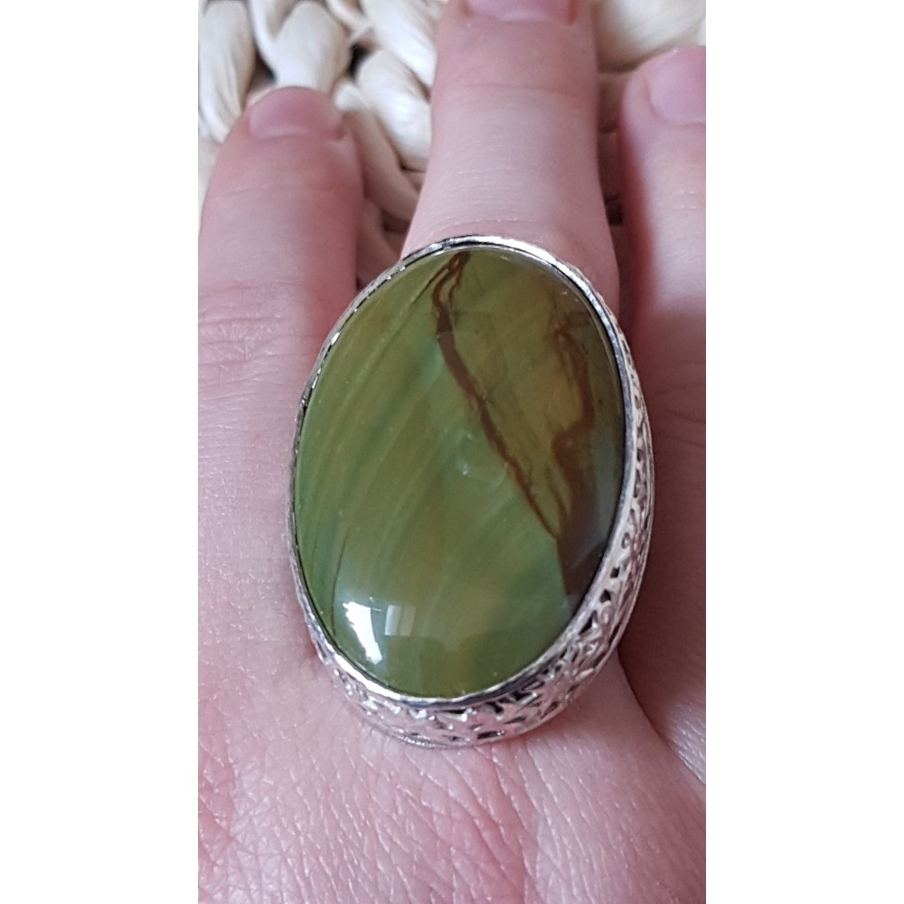 Large Sterling Silver ring with natural jasper stone Witty Jaspers