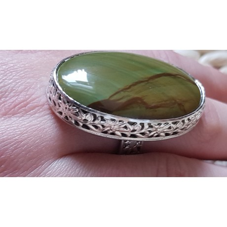 Large Sterling Silver ring with natural jasper stone Witty Jaspers, Bijuterii de argint lucrate manual, handmade