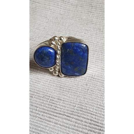 Large Sterling Silver ring with natural lapislazuli Boundless Blues, Bijuterii de argint lucrate manual, handmade