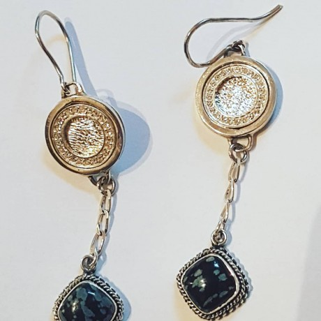 Sterling silver earrings with natural agate stones Glow Saga, Bijuterii de argint lucrate manual, handmade