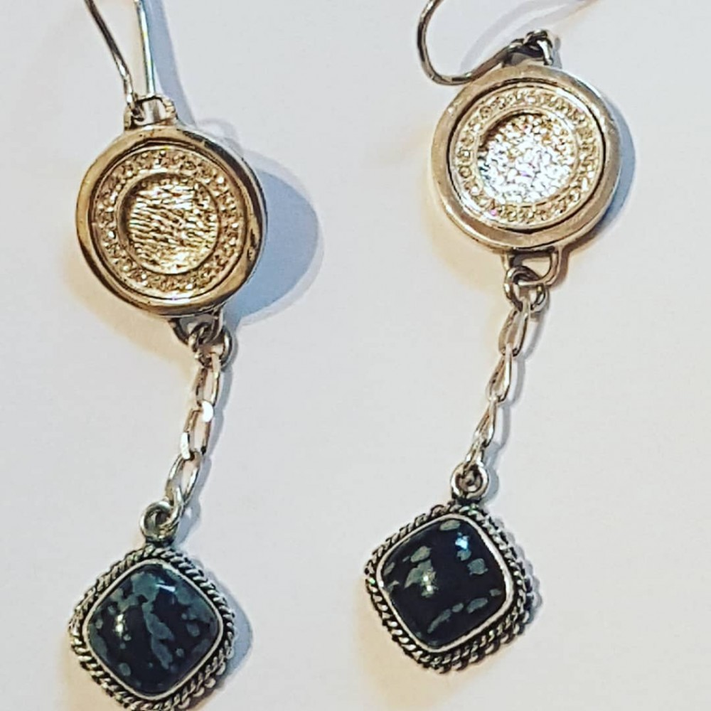 Sterling silver earrings with natural agate stones Glow Saga