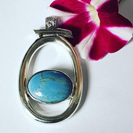 Massive Sterling silver pendant with natural blue opal stone Opal Fumbles, Bijuterii de argint lucrate manual, handmade