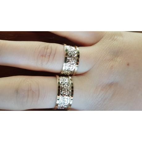 Verighete de logodnă Ag925 si aur 12k,  Takes Two to Tango, Bijuterii de argint lucrate manual, handmade