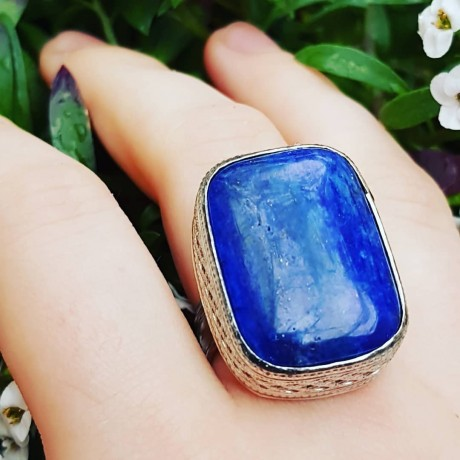 Sterling silver ring with natural lapislazuli  Blue Navel, Bijuterii de argint lucrate manual, handmade