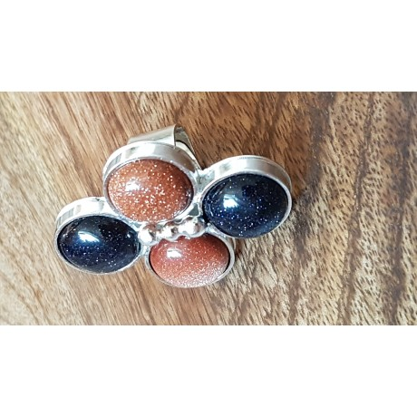 Sterling silver ring with natural goldstone Hub of Sparkles, Bijuterii de argint lucrate manual, handmade