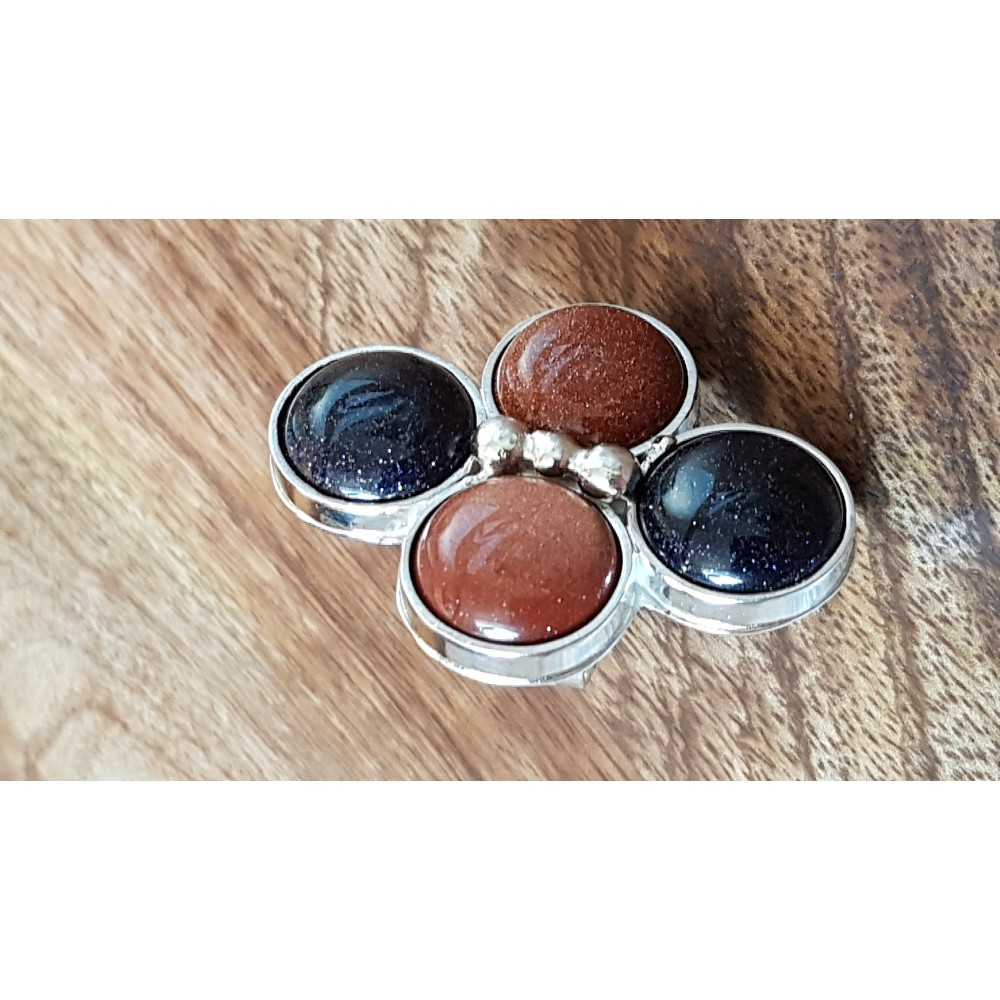 Sterling silver ring with natural goldstone Hub of Sparkles