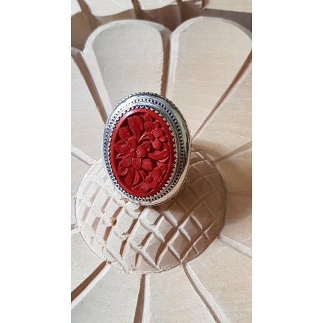 Large Sterling Silver ring with carved cinabar stone Babel Roses , Bijuterii de argint lucrate manual, handmade