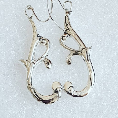 Massive Sterling silver earrings Baroque Bouquette, Bijuterii de argint lucrate manual, handmade