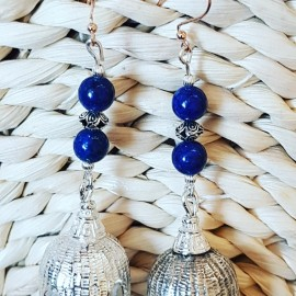Long Sterling silver earrings with natural lapislazuli stones  Fruit of Miracle