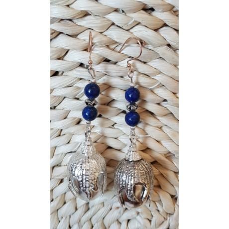Long Sterling silver earrings with natural lapislazuli stones  Fruit of Miracle, Bijuterii de argint lucrate manual, handmade