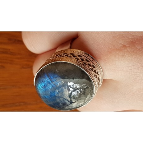 Massive Sterling silver ring with natural labradorite stone Shadiness, Bijuterii de argint lucrate manual, handmade